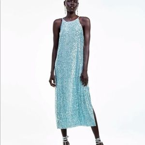ZARA SEQUINNED HALTER  DRESS TURQUOISE S 2878/032